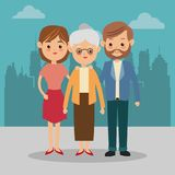 Grootmoeder en ouderspictogram Familieontwerp Het landschap van de stad stock illustratie