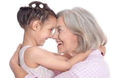 Grootmoeder en weinig kleindochter royalty-vrije stock afbeelding
