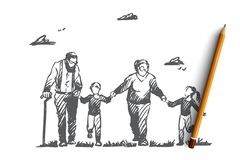 Grootmoeder, grootvader, kleinkinderen, familie, generatieconcept Hand getrokken geïsoleerde vector vector illustratie