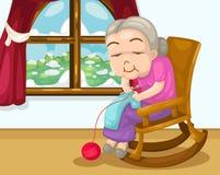 Grootmoeder het breien vector Royalty-vrije Stock Foto's