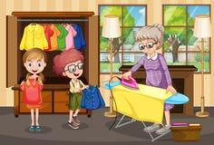 Grootmoeder het strijken kleren voor kinderen stock illustratie