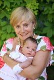 Grootmoeder met baby Royalty-vrije Stock Foto's
