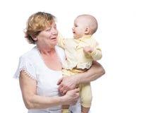 Grootmoeder met baby Royalty-vrije Stock Foto