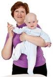 Grootmoeder met een baby Royalty-vrije Stock Fotografie