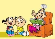 Grootmoeder met haar kleinkinderen vector illustratie