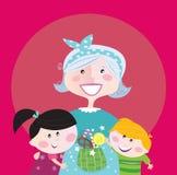 Grootmoeder met kleinkinderen stock illustratie