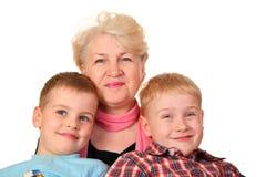 Grootmoeder met kleinkinderen Royalty-vrije Stock Fotografie