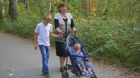 Grootmoeder met kleinkinderen die in het Park lopen stock videobeelden