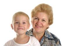 Grootmoeder met kleinzoon stock foto