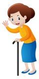 Grootmoeder met wandelstok stock illustratie