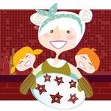 Grootmoeder met zoete koekjes Stock Foto's