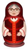 Grootmoeder in nationale matryoshka van de kleren Russische houten pop stock illustratie