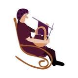 Grootmoeder in schommelstoel het breien Royalty-vrije Stock Afbeelding