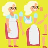 Grootmoeder in schort Gebroken voor animatie Royalty-vrije Stock Afbeelding