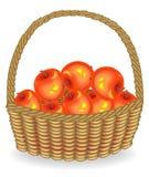 Grootmoedige oogst Verse rode appelen in een mand Het fruit is zeer smakelijk en vitamine Een uitstekende traktatie voor gezondhe royalty-vrije illustratie