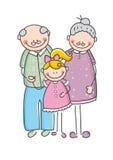 Grootouder en kind Stock Foto's