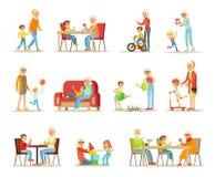 Grootouder het besteden de tijd met kleinkinderen plaatsen, oma en opa het spelen, lopend, lezend boeken, die diner hebben royalty-vrije illustratie