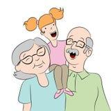 Grootouder met Kleindochterbeeldverhaal Royalty-vrije Stock Fotografie