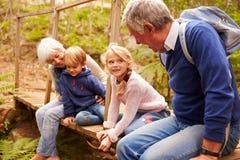 Grootouders die met grandkids op houten brug zitten Royalty-vrije Stock Foto's