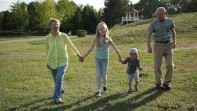 Grootouders die met Kleinkinderen in Park lopen stock footage