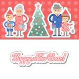 Grootouders en kleinkinderen met giften voor Kerstboom Stock Fotografie