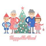 Grootouders en kleinkinderen met giften voor Kerstboom Royalty-vrije Stock Afbeelding