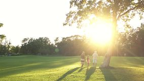 Grootouders en meisje die in park lopen stock videobeelden