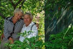 Grootouders in gargen Royalty-vrije Stock Afbeelding