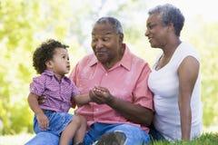 Grootouders met kleinzoon in park stock afbeeldingen