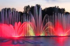 Grootste fontein op de rivier in Vinnytsia, de Oekraïne Stock Foto's