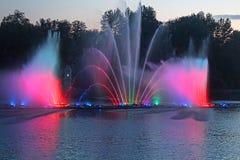 Grootste fontein op de rivier in Vinnytsia, de Oekraïne Royalty-vrije Stock Afbeeldingen
