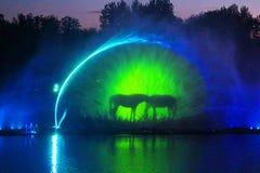 Grootste fontein op de rivier in Vinnytsia, de Oekraïne Royalty-vrije Stock Foto's