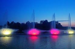 Grootste fontein op de rivier in Vinnytsia, de Oekraïne Stock Foto