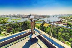 Grootste panorama van Gouden Hoorn van Pierre Loti-heuveltop Royalty-vrije Stock Fotografie