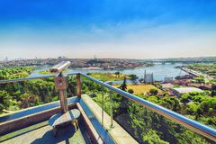 Grootste panorama van Gouden Hoorn van Pierre Loti-heuveltop Royalty-vrije Stock Foto's