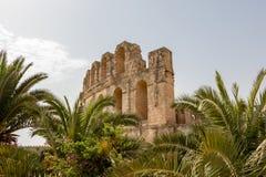 Grootste Roman Amphitheatre in Afrika en tweede in impressiveness slechts aan Colosseum in Rome, Gr Jem, Tunesië, Afrika royalty-vrije stock foto