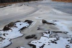Grootste waterval Storforsen in de winter, Stock Afbeelding