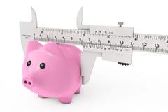 Grootte van Besparingenconcept Spaarvarken met Vernier Caliper Sliding Stock Afbeelding