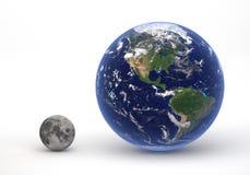 Groottevergelijking tussen Aarde en Maan Stock Foto's