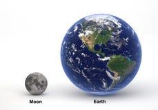 Groottevergelijking tussen Aarde en Maan met titels Stock Fotografie