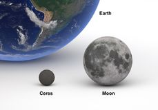 Groottevergelijking tussen Ceres en Maan met Aarde vector illustratie