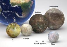 Groottevergelijking tussen de manen van Jupiter en van Neptunus met Aardeverstand stock illustratie