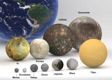 Groottevergelijking tussen Saturn en de manen van Jupiter met Aarde met Royalty-vrije Stock Afbeelding