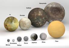 Groottevergelijking tussen Saturn en de manen van Jupiter met titels stock illustratie
