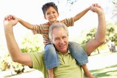 Grootvader die de Rit van de Kleinzoon op in Park teruggeeft Stock Afbeeldingen