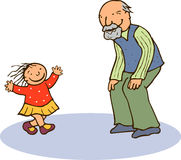 Grootvader en kleindochter Royalty-vrije Stock Afbeelding