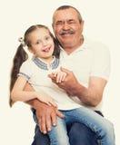 Grootvader en kleinkinderenportret Royalty-vrije Stock Foto