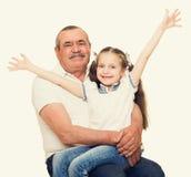 Grootvader en kleinkinderenportret Stock Fotografie