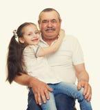 Grootvader en kleinkinderenportret Royalty-vrije Stock Foto's