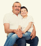 Grootvader en kleinkinderenportret Royalty-vrije Stock Fotografie